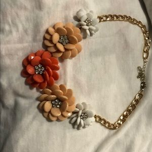 Peach and gold floral necklace
